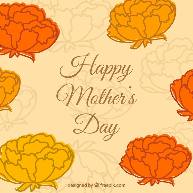 Mother\'s Day card with orange flowers