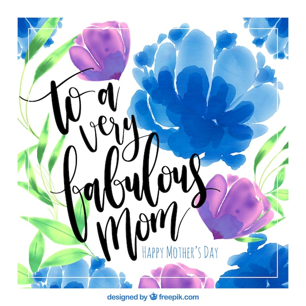 Mothers Day Card With Purple And Blue Flowers Vector Free Download
