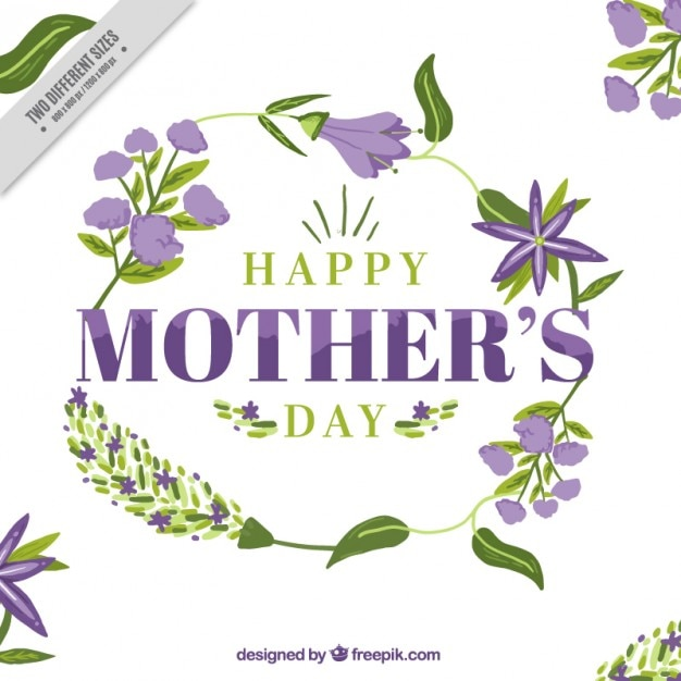 Mother\'s day card with purple flowers and\ leaves