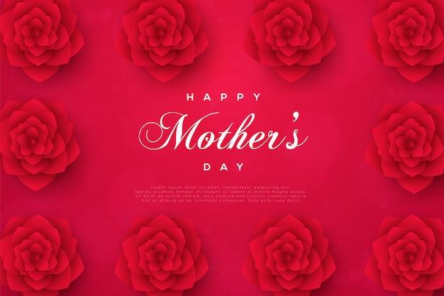 빨간 장미 액자 카드와 함께 어머니의 날 카드. 프리미엄 벡터