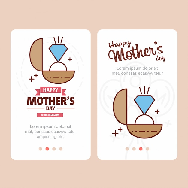 Mother's day card with ring logo and pink theme vector Free Vector