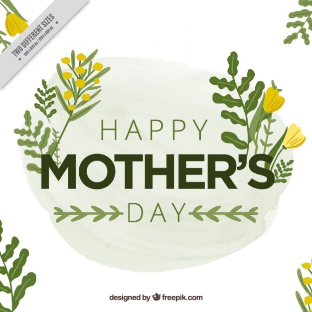 Mother\'s day card with yellow flowers and\ leaves
