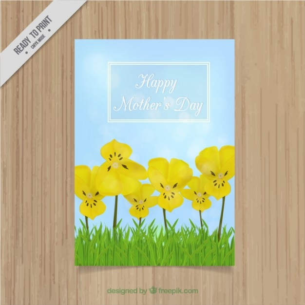 Mother\'s day card with yellow flowers