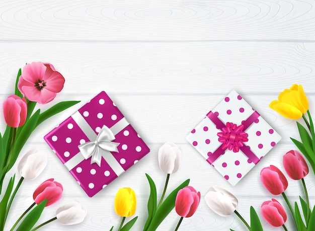 Mother's day composition with top view of polka-dot gift boxes and flowers on wooden background vector illustration Free Vector