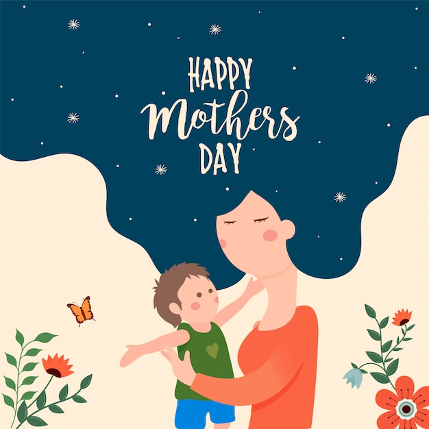Mother's day concept. Premium Vector