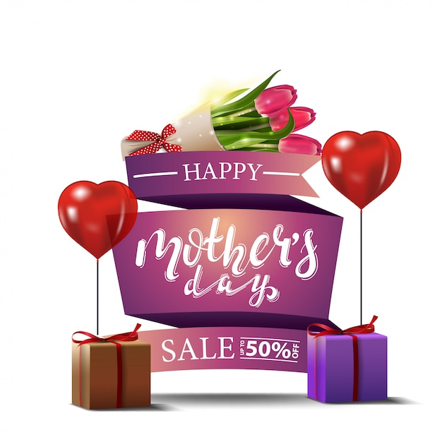 Mother's day discount modern banner with bouquet of tulips Premium Vector