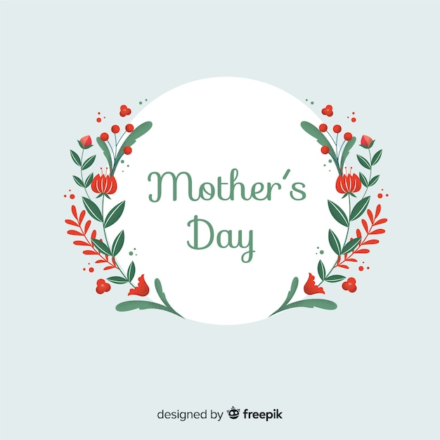 Mother's day flat floral background Free Vector
