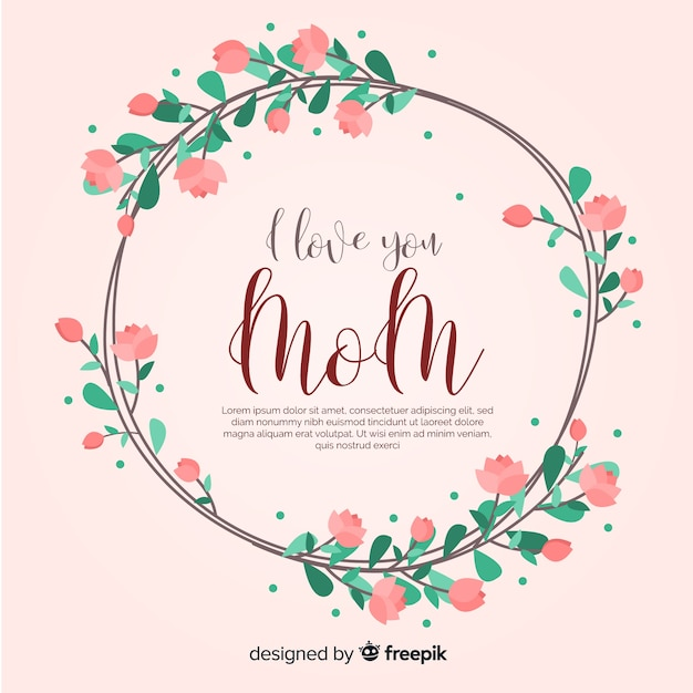 Mother's day floral background template Free Vector