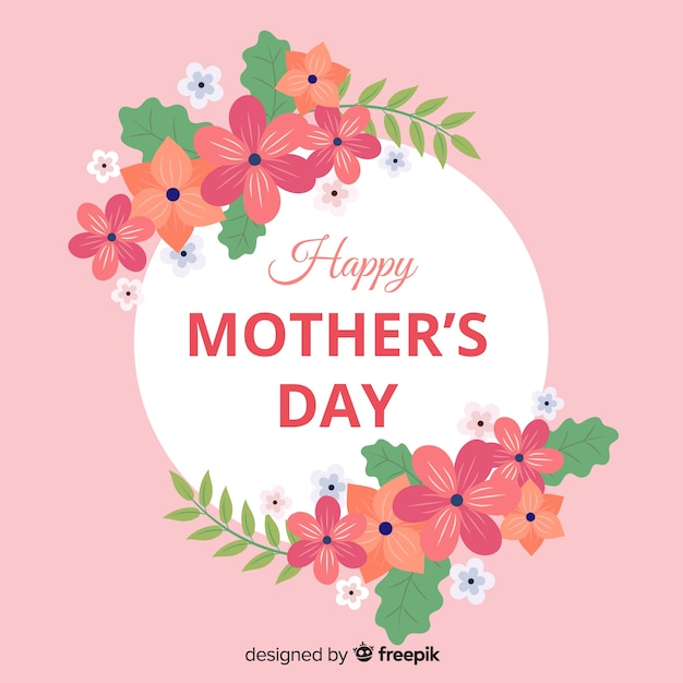 Mother's day floral frame background Free Vector