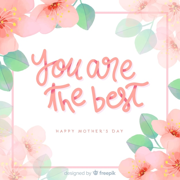 Mother's day floral lettering background Free Vector