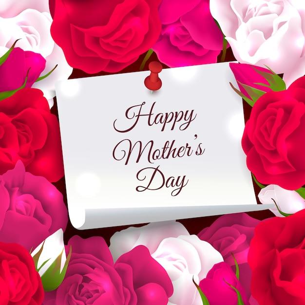 День матери состав кадра из бумаги с местом для редактируемого богато украшенный текст, окруженный розовыми цветами векторная иллюстрация Бесплатные векторы
