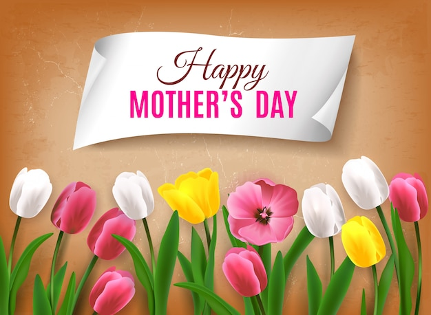 Mother's day greeting card with realistic images of colorful flowers with green stems leaves Free Vector