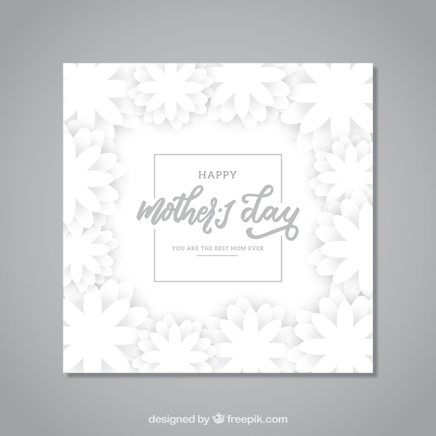 Mother\'s day greeting card with white\ flowers