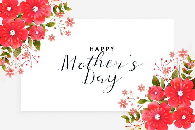 Mother's day greeting with flower decoration Free Vector