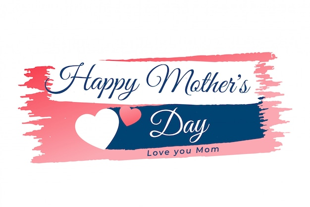 Mother's day heart banner background Free Vector