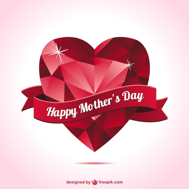 mother s day heart shape card vector free download