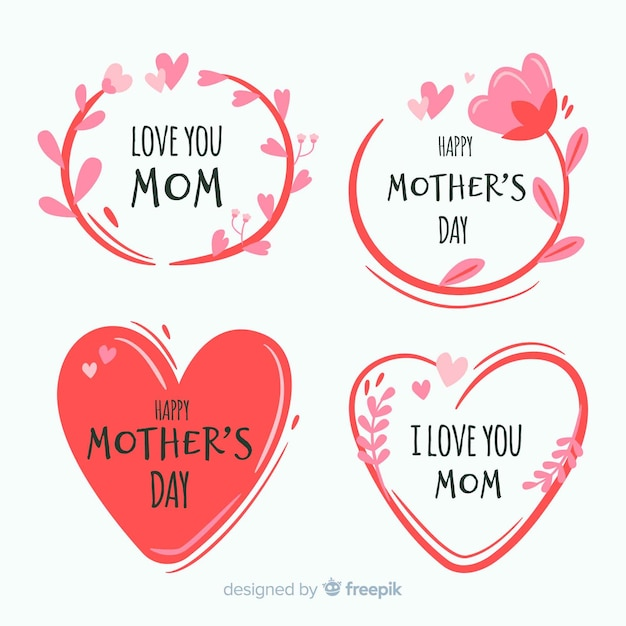 Mother's day label collection Free Vector
