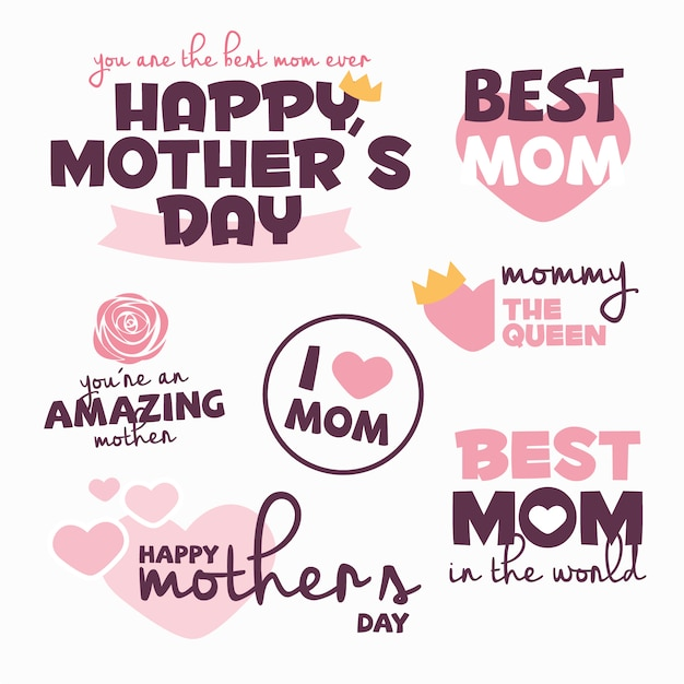 Mother's day labels collection Vector | Free Download
