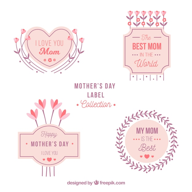mother 39 s day labels collection vector free download. Black Bedroom Furniture Sets. Home Design Ideas