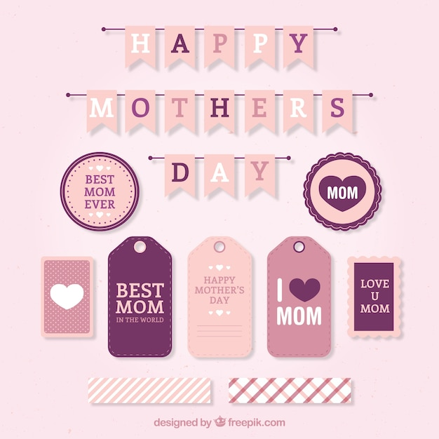 Mother\'s day labels set