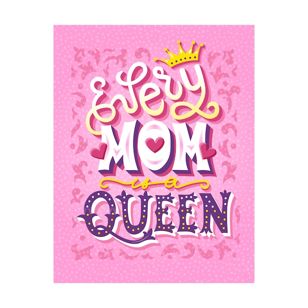 Mother's day lettering card Premium Vector