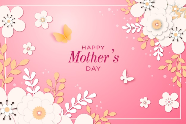 Mother's day lettering with flowers Free Vector