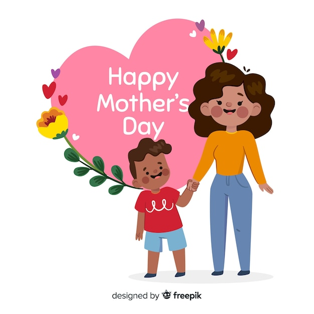 Mother's day mother hugging her child background Free Vector
