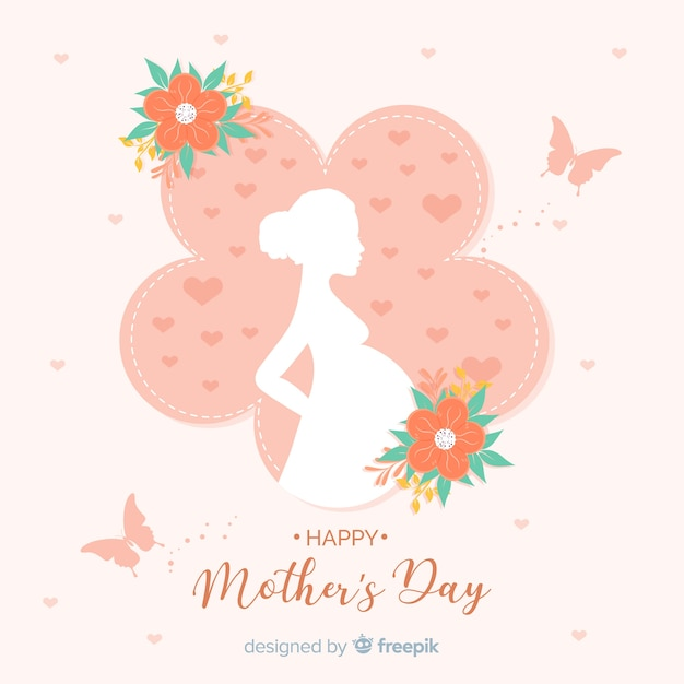 Mother's day pregnant woman silhouette background Free Vector