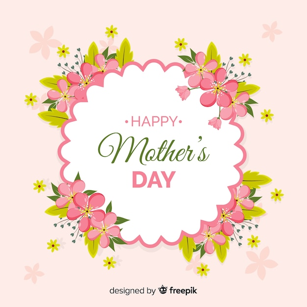 Mother's day realistic floral frame background Free Vector