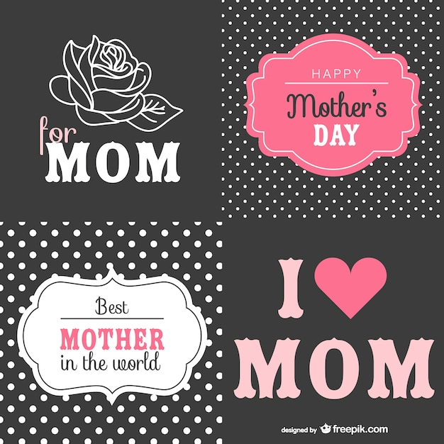 Mother's day retro cards set  Free Vector