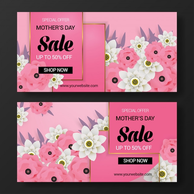 Mother's day sale banner background Premium Vector
