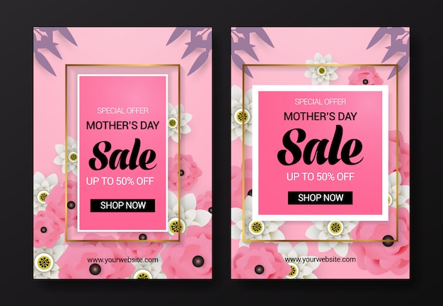 Mother's day sale flyer template Premium Vector