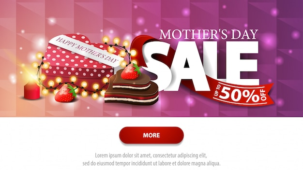 Mother's day sale purple discount banner with button Premium Vector