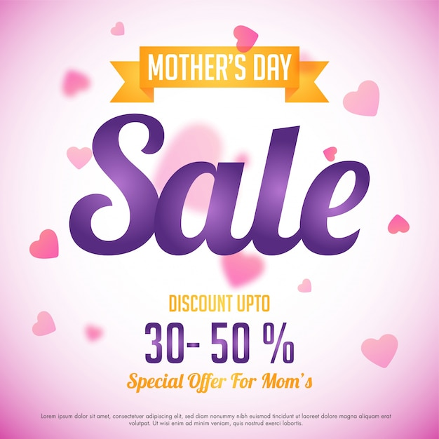 Mom Day Sale Ͽ� Seasonal A5 Flyer Template: Mother's Day Sale With Special Discount Offer, Pink Hearts