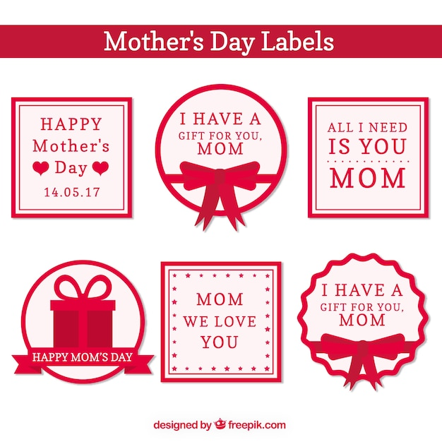 Mothers Day Stickers Set With Beautiful Messages Free Vector