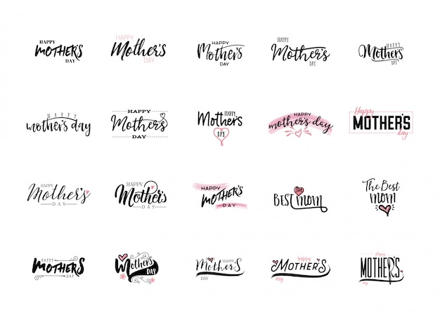Mother's day stickers set Premium Vector