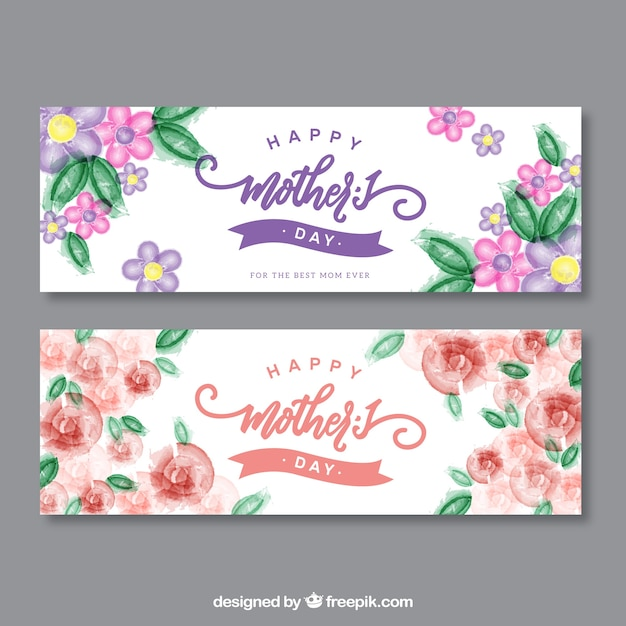 Mother's day watercolor flower banners Free Vector