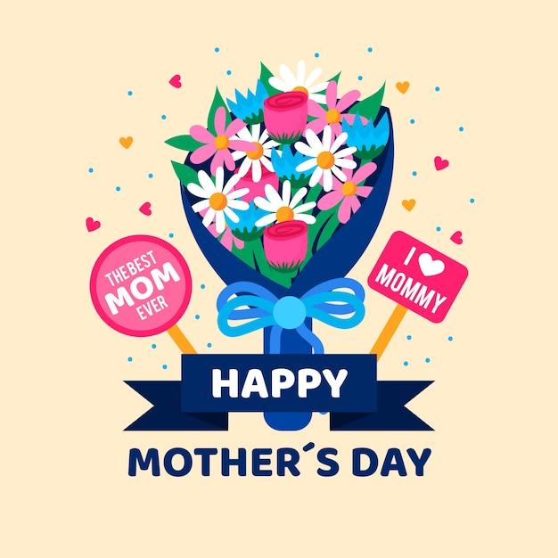 花束と母の日 無料ベクター