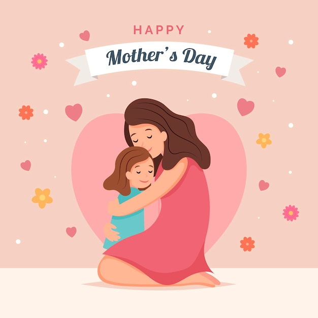 Mother's day with mother and child Premium Vector