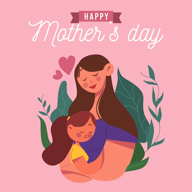 Mother's day with mother and child Free Vector