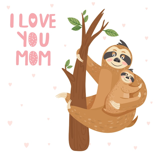 Mother sloth with baby hanging on branch Premium Vector