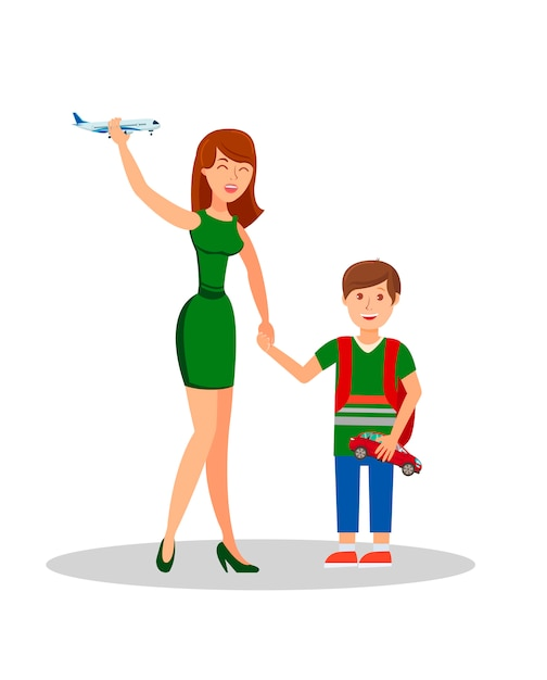 Mother and son flat vector isolated illustration Premium Vector
