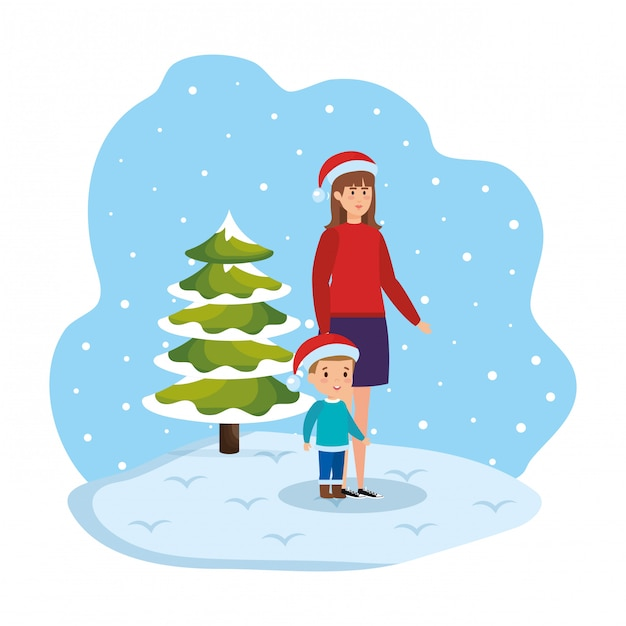 Mother and son in snowscape Premium Vector