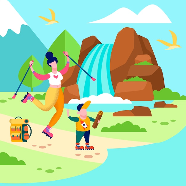Mother son trip card family outdoors illustration Premium Vector