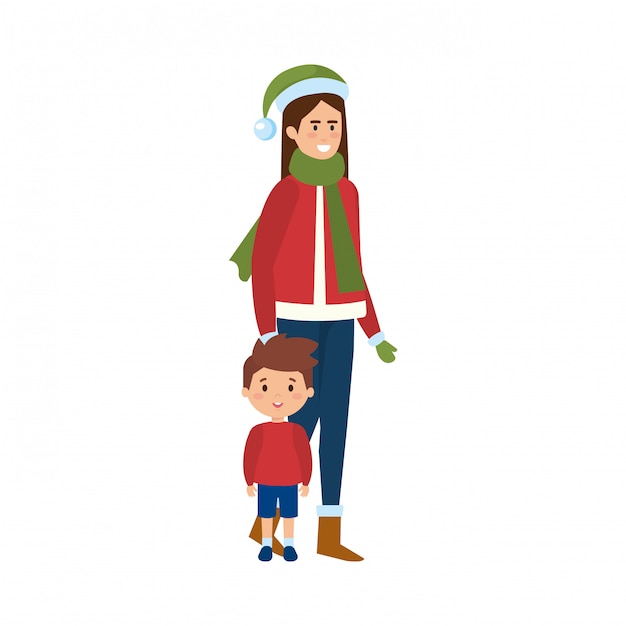 Mother and son with christmas clothes Premium Vector