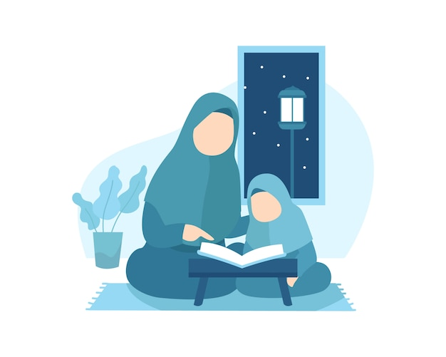 A mother teaches her daughter to read quran Premium Vector