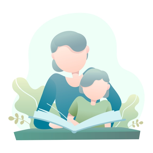 Mother teaches her daughter reading a book illustration Premium Vector