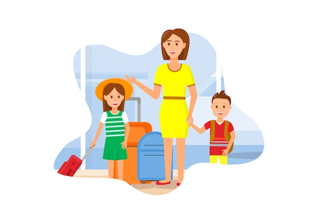 Mother travel with daughter and son characters  Vector