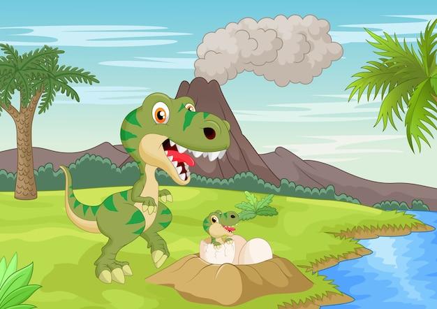 Mother tyrannosaurus with baby hatching Premium Vector