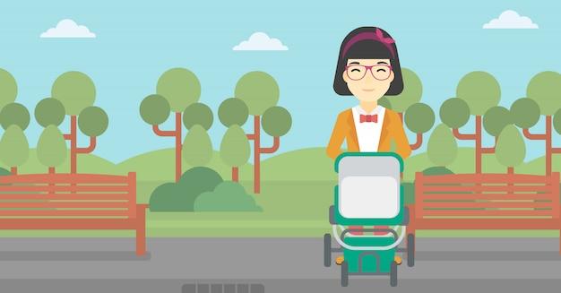 Mother walking with baby stroller. Premium Vector